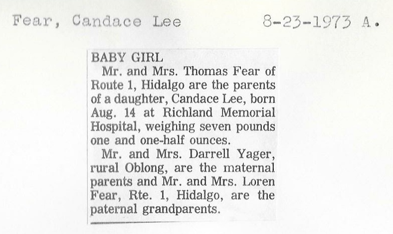 Crawford County IL Historical Society - Birth and Adoption Announcements